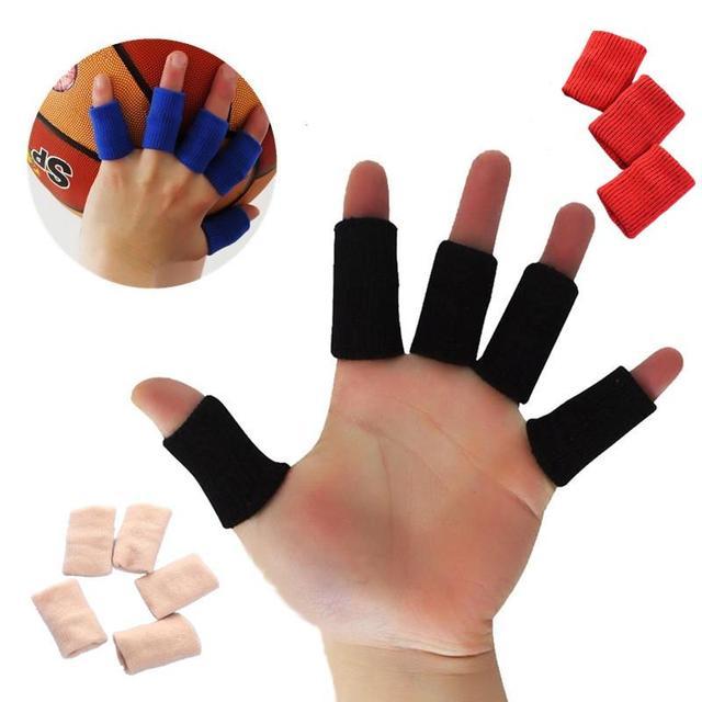 10 piezas elástico dedo manga Protector de guardia 4 colores baloncesto deportes artritis banda secreto