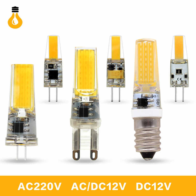 5Pcs/lot 2018 New LED Lamp G4 G9 E14 led bulb AC DC 12V 220V 6W 9W COB LED G4 G9 Lampada Dimmable for Crystal Chandelier Lights