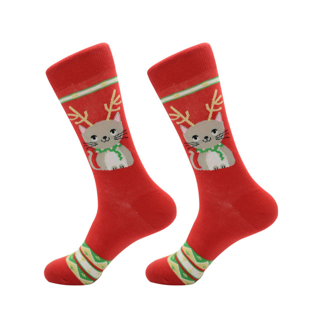 Jhouson 1 pair Fashion Crew Funny Christmas socks Colorful Men's Cotton Causal Dress Colorful Wedding Socks For Gifts 3