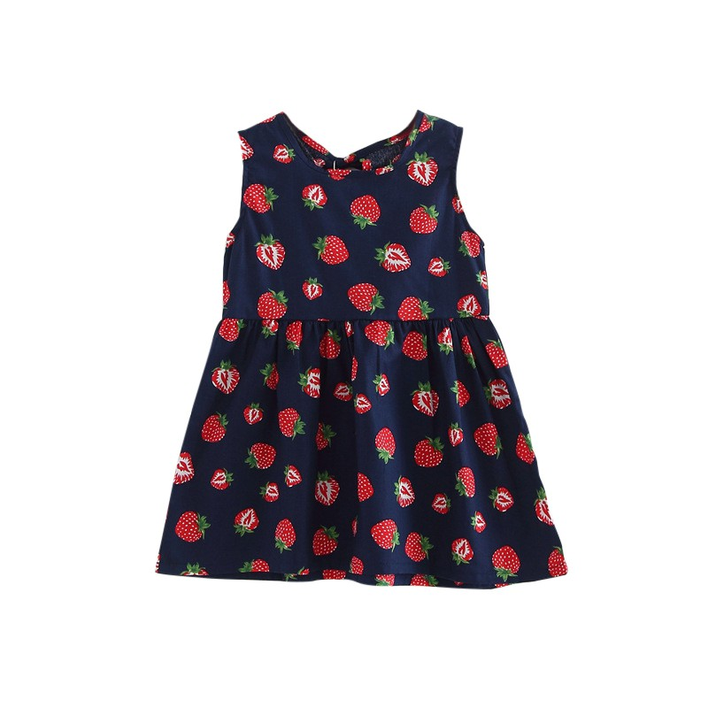 Toddler Girl A line Summer font b Dress b font Sleeveless Floral Printed Kid Soft Cotton