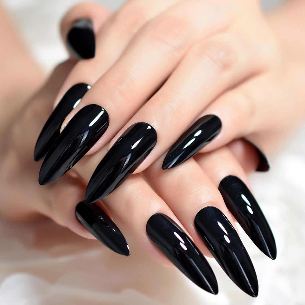 Black Extremely Long Stiletto Nails 24 Full Set of Nails ...
