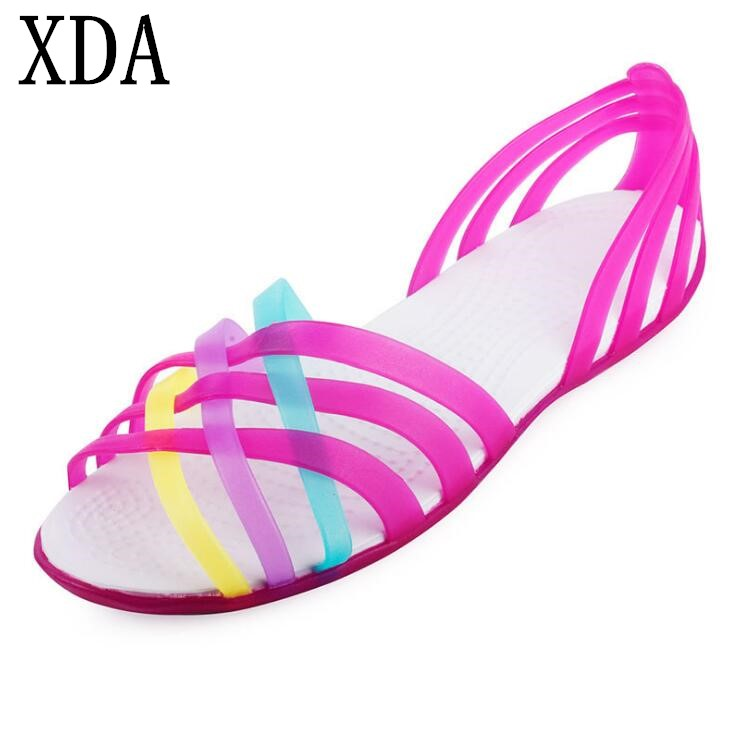 XDA Women Sandals Hot Summer New Candy Color Women Shoes open-toed Stappy Beach Rainbow Jelly sandals Woman Flats sandals F192 цена и фото