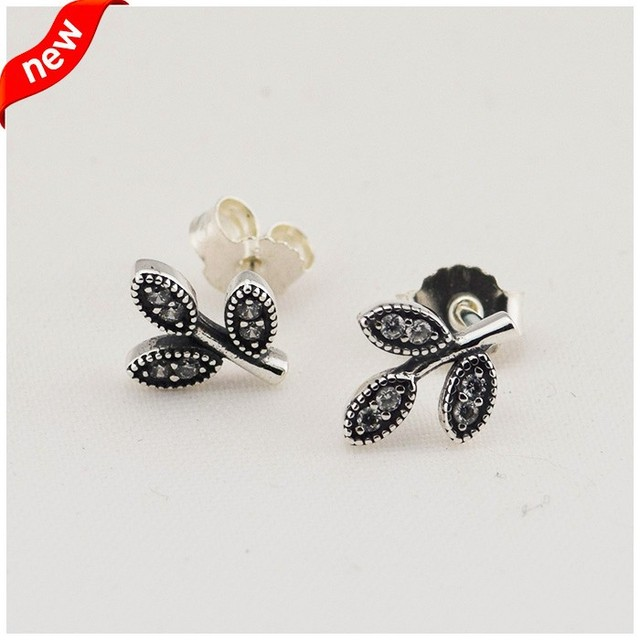 Sparkling Leaves Stud Earring with Clear Cubic Zirconia 100% Authentic 925 Sterling Silver Fine Jewelry Free Shipping
