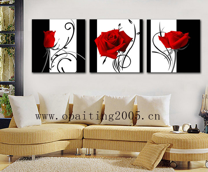 Aliexpress Com Buy Hot Handmade Painting Decorative 3pcs Paintings Home Art Modern Decorative Painting Flower Rose Black And White Love Wall Art From