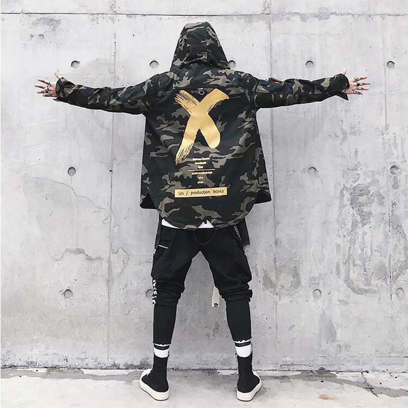 Camouflage Jacket Men Coats High Street Ribbon Patchwork Cotton Men X Print Bomber Coat Autumn Harajuku Pilot Flight Jacket