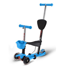 Midou Toddler Adjustable 4 in1 Kick Scooter With Big Light Up Wheels And Safe Handle
