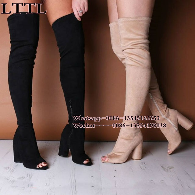 Women Stretch Suede Leather Slim Thigh High Boots Sexy Fashion Over the Knee Boots High Heels Woman Shoes Black beige Winered beige black grey stretch suede thigh high boots stiletto high heels 2017 new fall celeb women shoes pointed toe women boots