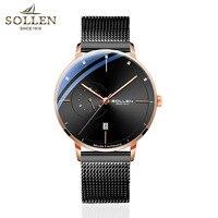 SOLLEN бренд для мужчин часы автоматические механические часы Японии двигаться для мужчин t спортивные часы сталь повседневное бизнес