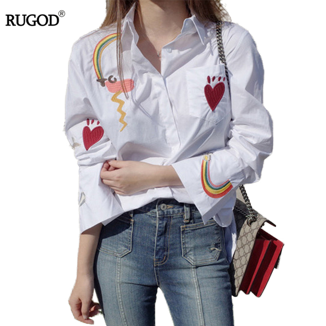 d02247608de Rugod Spring Autumn Cotton women blouses long sleeve shirt Heart rainbow  embroidered women tops 2018 Casual Cotton chemise femme