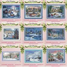 Снежный пейзаж снежная ночь Рождество Счетный 11CT 14CT Набор для вышивания крестиком DIY DMC Набор для вышивания крестиком вышивка рукоделие домашний декор