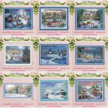 Snowscape snowy night Christmas counted 11CT 14CT Cross Stitch Set DIY DMC Cross-stitch Kit Embroidery Needlework Home Decor(China)