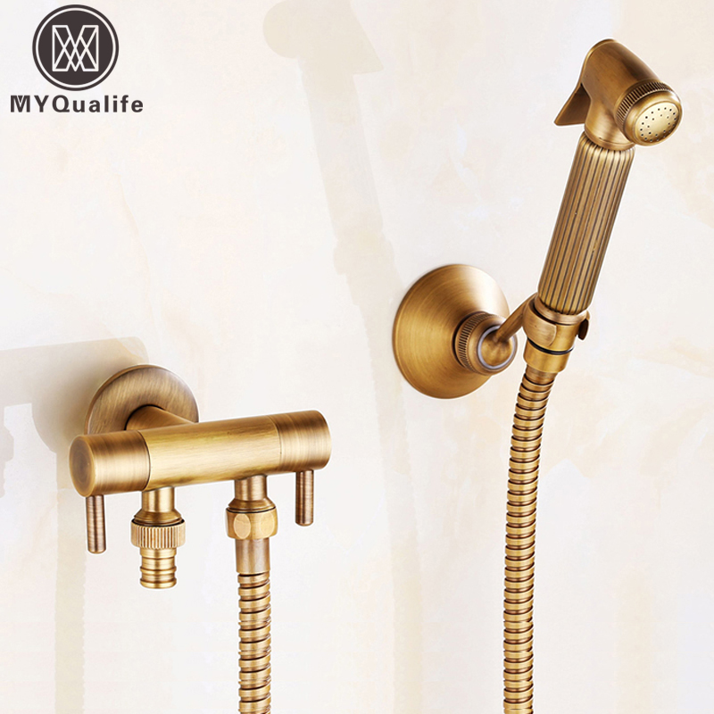 Antique Brass Wall Mounted Bidet Sprayer Head Toliet Bidet Hand Held Portable Bidet Sprayer Shattaf Toilet Shower Spray Set brass toliet hand held bidet spray douche sprayer shower set shattaf nozzle jet