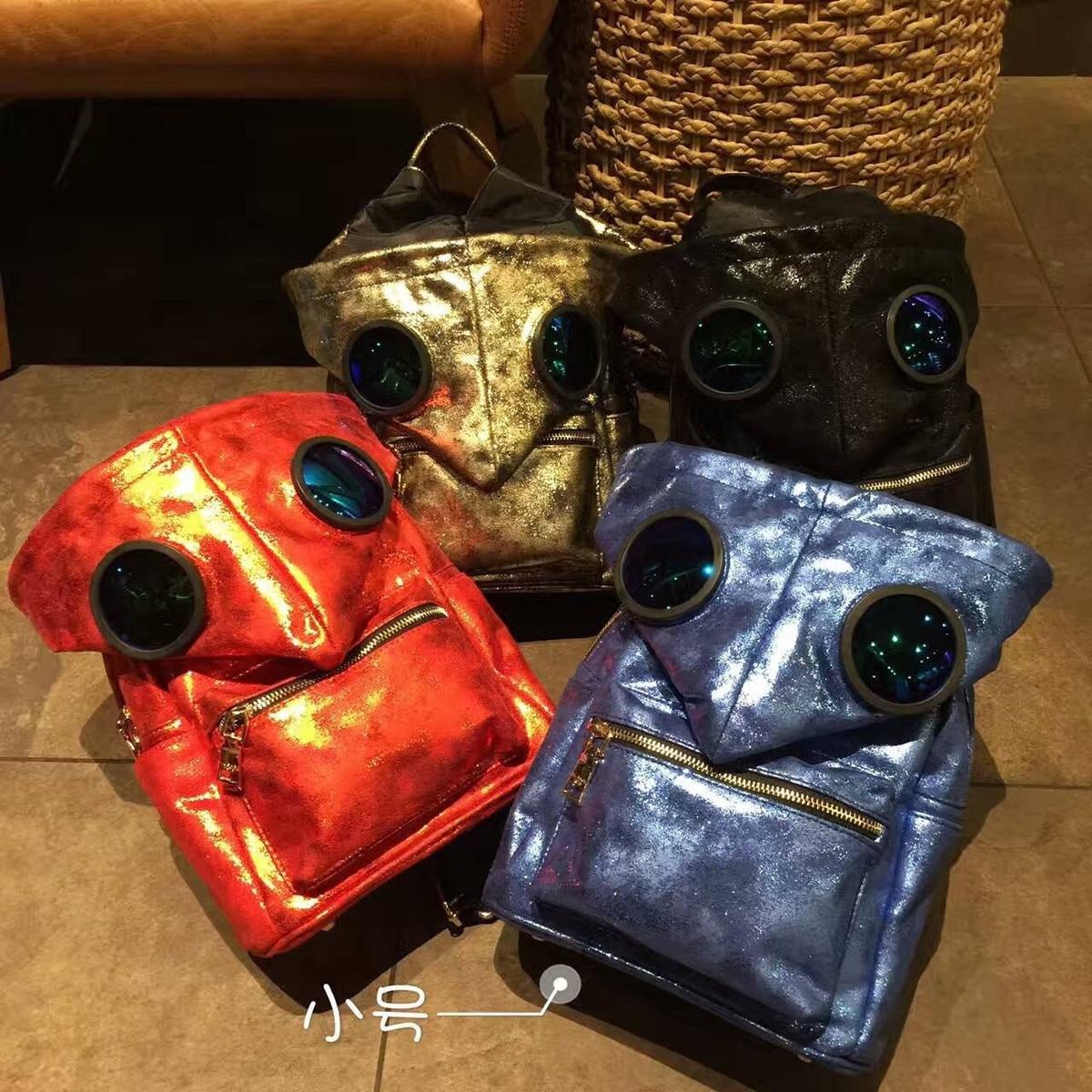 Sac À Dos en cuir Mochilas Mochila Escolar Han Guodong Portes lunettes de Soleil Avec Coloré Chapeau Sac À Dos Fashionista Couple Voyage Sac