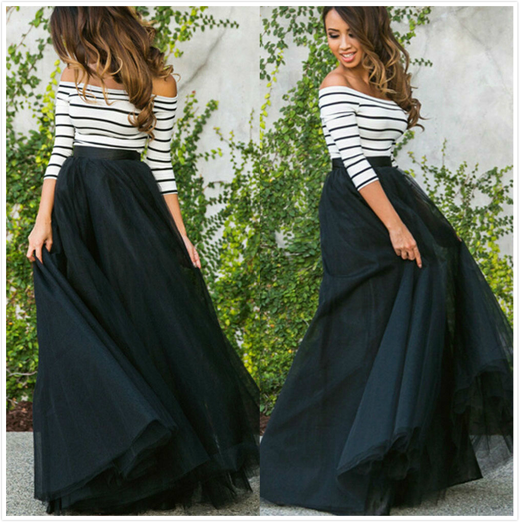 NEW Womens Multi Layer Tulle Pleated Retro Long Skirt High Waist Maxi Skirt Striped Long-Sleeve Top 2Pcs Set Clothes