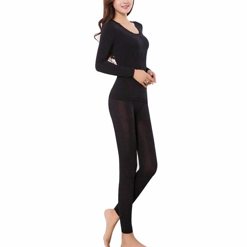 Women Winter Thermal Underwear Women Breathable Warm Long Johns Slim Underwear Set Bottoming Long Johns