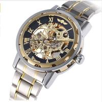 20172016 New Winner Watch Fashion Stainless Steel Skeleton Wind Up Mechanical Wristwatch For Men