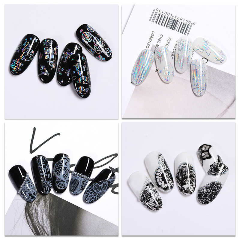 10 การออกแบบ/ชุดเล็บ Holographic Foil Nail Art Transfer ฟอยล์สติกเกอร์กระดาษ Starry AB สี UV เจลเล็บกาว Decals