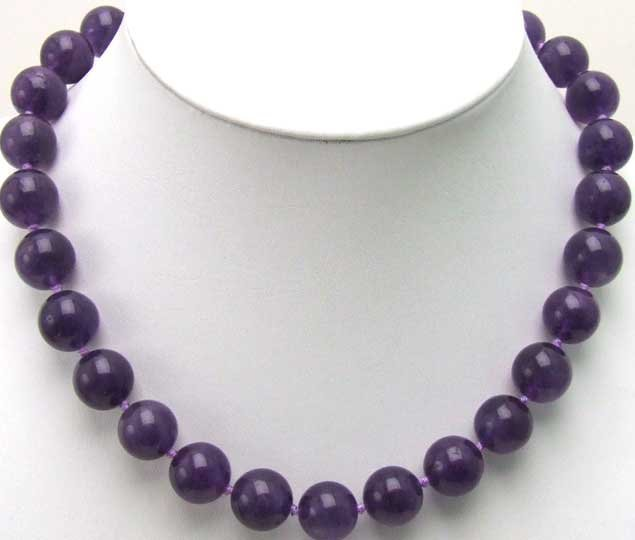 "SALE  natural 14mm round Dark purple Jade 18"" Necklace -5250 Wholesale/retail  Free shipping"