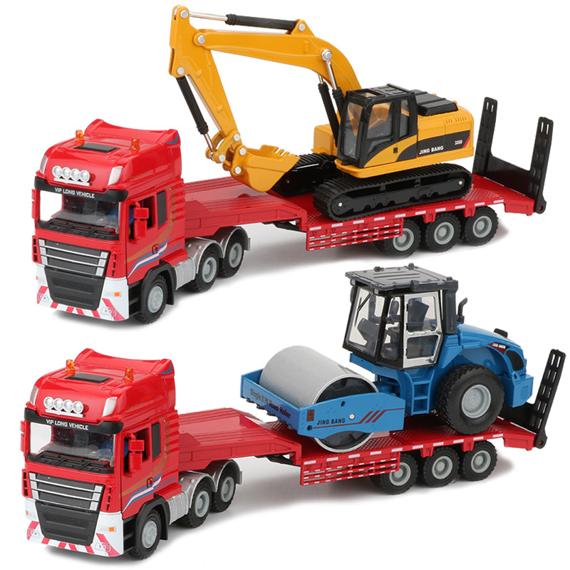 JINGBANG 1:50 Flatbed Trailer Trucks Toy Alloy Trailer Roller Excavator Loader Truck Model Car Toys For Boys Digger Forklift delicore white letter