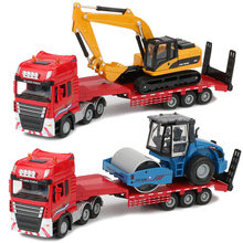 JINGBANG 1:50 Flatbed Trailer Trucks Toy Alloy Trailer Roller Excavator Loader Truck Model Car Toys For Boys Digger Forklift(China)