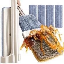 床クリーニングツールモップマイクロファイバーフラットモップ旋回自己絞り出し不要の手の洗濯ウェットとドライ床モップ 4 とモップパッド