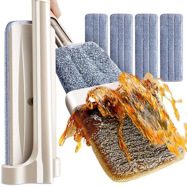 רצפת ניקוי כלים סמרטוט Microfibre שטוח סמרטוט ציר עצמי סחיטה לא צריך יד כביסה רטוב ויבש רצפת סמרטוט עם 4 סמרטוט רפידות