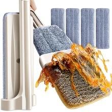Mop liso de microfibra do mop das ferramentas da limpeza do assoalho que gira a auto torcendo nenhuma mão da necessidade que lava o mop molhado e seco do assoalho com 4 almofadas do esfregão
