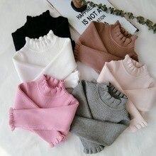 Детские свитера; зимняя водолазка с воротником с рюшами; приталенные Топы; одежда для детей; мягкие хлопковые вязаные пуловеры для маленьких девочек