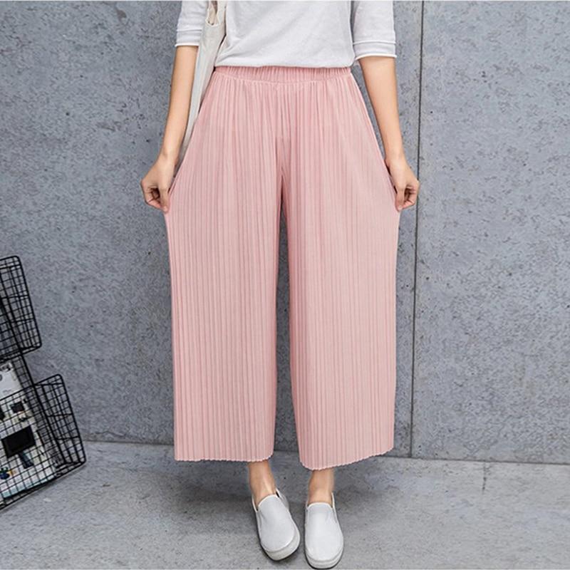 Fold Pleated Palazzo Pants Women Bottoms  Female Casual Pants Mid Waist Wide Leg Pants For Women