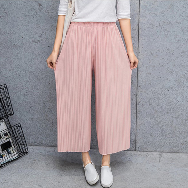 Fold Pleated Palazzo   Pants   Women Bottoms Female Casual   Pants   Mid Waist   Wide     Leg     Pants   For Women