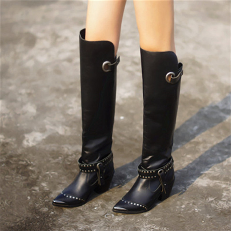 ff09e8dff9d6a Prova Perfetto Metal Pointed Toe Women Thigh High Boots Black Genuine  Leather Over the Knee Boots Autumn Winter High Heel Boot - aliexpress.com -  imall.com