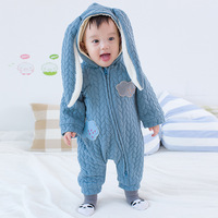 Autumn Winter Baby Rompers Fleece Hoodies Baby Girls Boys Jumpsuit Newborn Toddle Clothing Cotton Padded Overalls