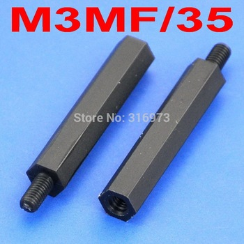 (1000 pcs/lot ) 35mm/1.38 Black Nylon M3 Threaded Hex Male-Female Standoff Spacer. image