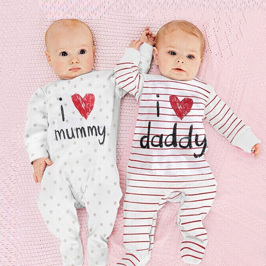 Newborn Baby Rompers Love MUMMY&DADDY Baby Girls Clothes Newborn Baby Boy Jumpsuits Ropa Bebes Baby Boy Clothing Infant Costume 2017 new fashion cute rompers toddlers unisex baby clothes newborn baby overalls ropa bebes pajamas kids toddler clothes sr133