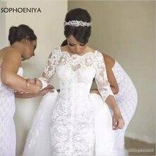 Свадебное платье с длинным рукавом, свадебное платье со съемным шлейфом, кружевные наряды для невесты 2020