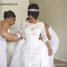 Robe de mariée à manches longues, avec traîne, robe de mariée en dentelle, robe détachable, modèle nouveauté, 2020