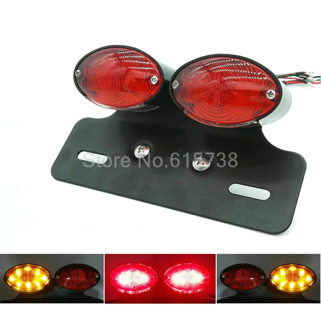 Motorcycle tail light dual Cat Eye Tail Light Custom License Plate Holder rear lights