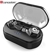 Langsdom IPX7 Bluetooth Earphone F8 TWS Wireless Earbuds Sports Headsets Bluetooth 4.2 stereo Touch Control fone de ouvido Siri