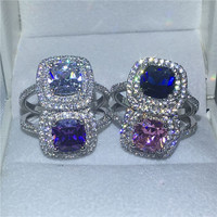 4 Colors Gems Anniversary Wedding Band Ring For Women Cushion Cut 3ct 5A Zircon Crystal 925