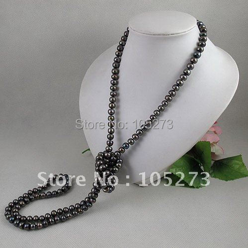 wholesale long pearl necklace 51inchs 8 9mm black color Genuine fresh water pearl free shipping Hot sale A2149