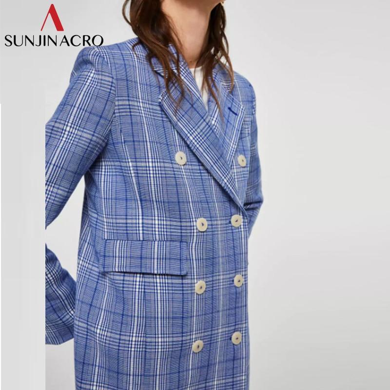 Femmes Nouveau Double Automne Breasted 2018 Manteau Survêtement Lady Poche Streetwear Minimaliste Plaid Sunjinacro Bleu Office Élégant Blazers tPq7gWxOH