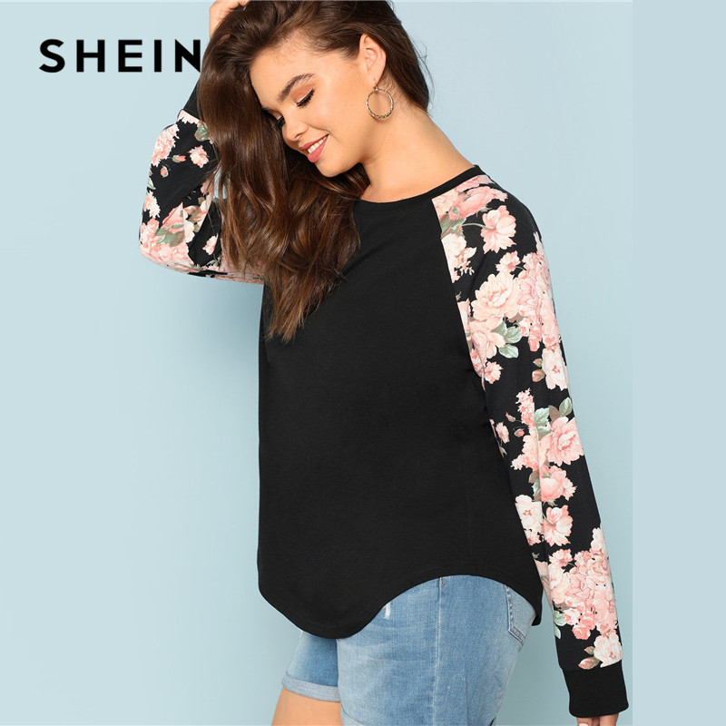 SHEIN Floral Print Raglan Sleeve Casual Plus Size Black Womens Top Tees 2018 Autumn New Round Neck Long Sleeve Workwear T Shirt 2
