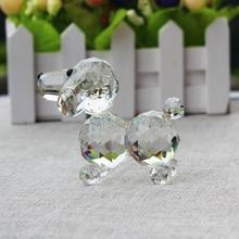 XINTOU Crystal Glass Animals Dog Miniature Figurine fashion&gift Home Decorative Figurines Christmas Birthday Memorial Crafts