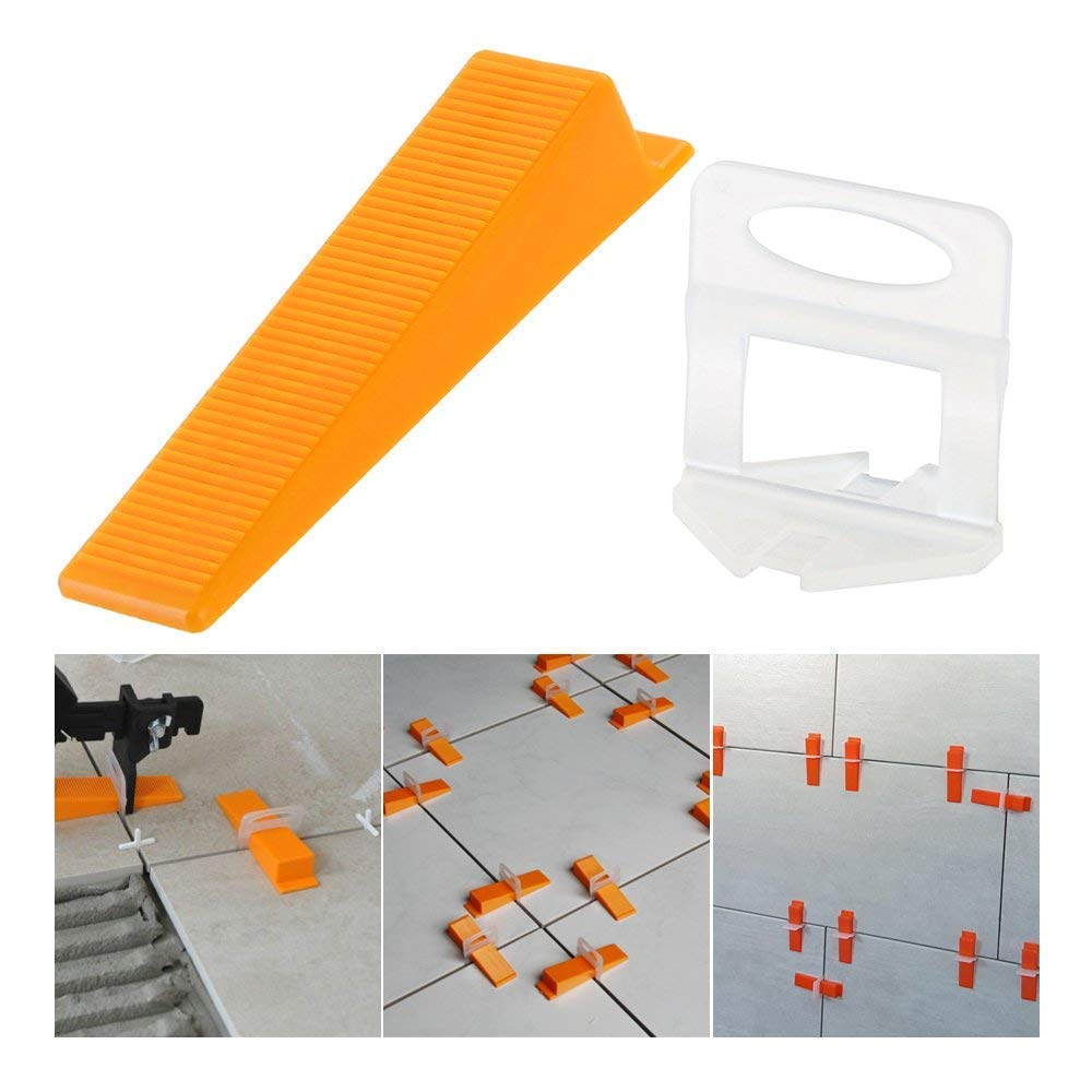 Tile Positioning Leveler Leveler Plastic Clips Tiles Auxiliary Tool Pressing Clamp Tile Tool (300 X Leveling Pad + 100 X Reusa