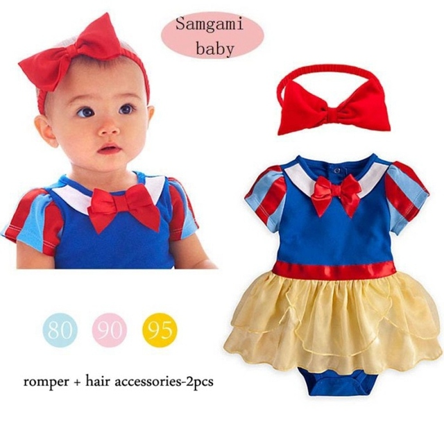 Cute Snow White Princess Costume for Girl Romper Dress + Headband 2 Piece Baby Set Infantil Clothes Bebe Clothing, Size 7-24M