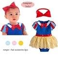 Linda blancanieves disfraz de princesa para niña mameluco dress + headband 2 unidades bebé conjunto infantil ropa bebe ropa, tamaño 7-24 m