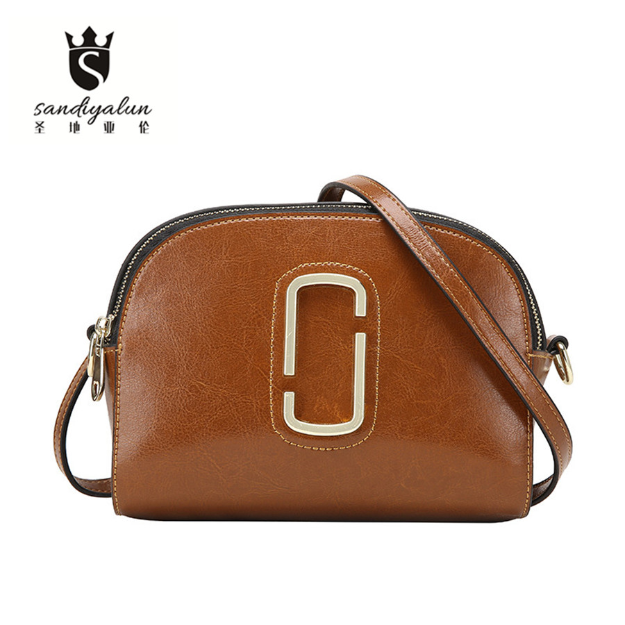 все цены на New Brand Fashion Genuine Leather Women Shoulder Bag Ladies Shell Crossbody Bags Real Leather Messenger Bag Bolsas Femininas