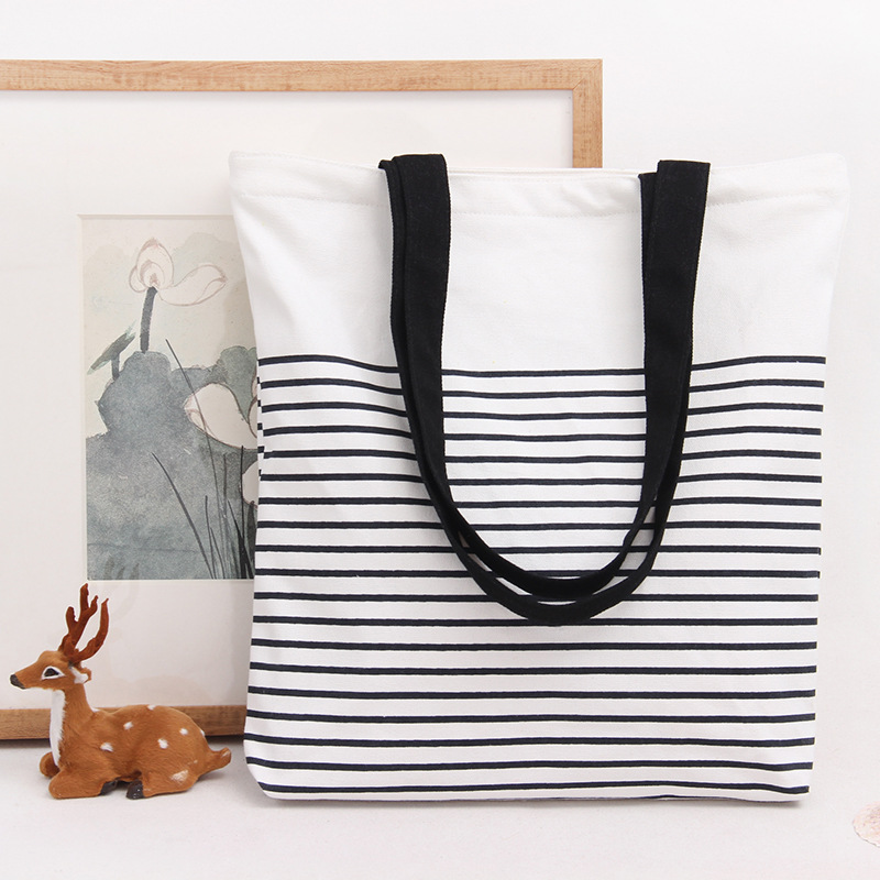 Striped Printed Cotton Canvas Handbags Beach Bags Female Girl Tote Shopping Handbag Portable Bag Women Shoulder Bag KB-020
