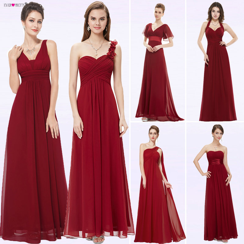 Ever Pretty Women Elegant Evening Dresses Long Burgundy Sexy A Line Sleeveless V Neck Long Backless Chiffon Party Evening Gowns-in Evening Dresses from Weddings & Events