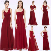 Ever Pretty Women Elegant Evening Dresses Long Burgundy Sexy A Line Sleeveless V Neck Long Backless Chiffon Party Evening Gowns